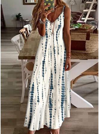 Imprimé Sans Manches Robe trapèze Robe à bretelles/Patineuse Décontractée/Vacances Maxi Robes