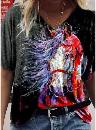 Print Animal V-Neck Short Sleeves T-shirts