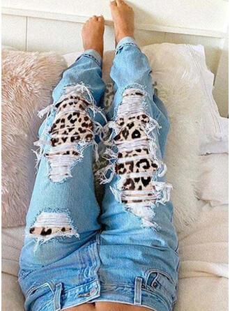 Leopard Tribal Cotton Long Vintage Ripped Pants Denim & Jeans