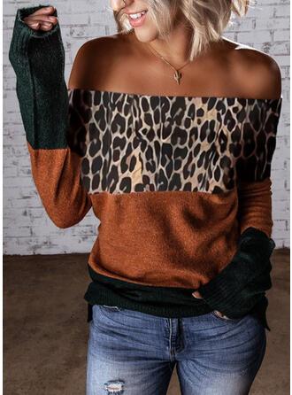Bloco de Cor Leopardo Sem Ombros Casual Suéteres