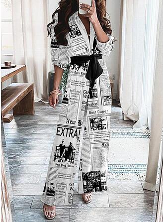 Print Letter V-Neck 3/4 Sleeves Casual Jumpsuit