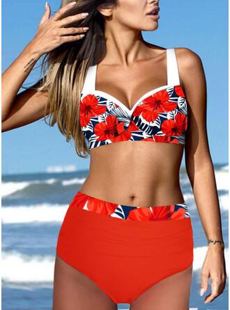 Print Floral Strap V-Neck Plus Size Boho Bikinis Swimsuits