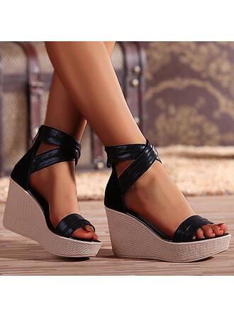 Femmes Cuir en microfibre Talon compensé Sandales Plateforme Compensée À bout ouvert avec Zip Ouvertes chaussures