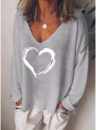 Imprimée Cœur Col V Manches Longues Décontractée Tricotage T-shirts