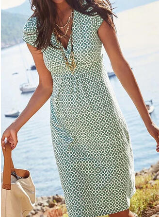 Print Short Sleeves Sheath Knee Length Casual/Vacation Dresses