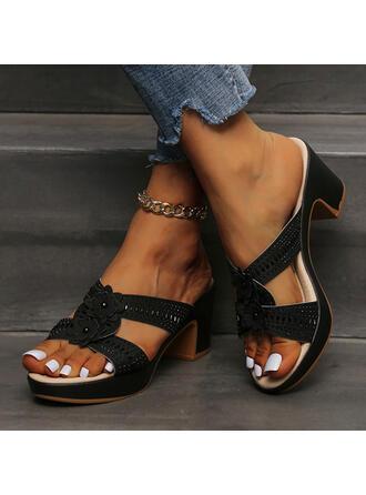 Femmes PU Talon bottier Sandales À bout ouvert Chaussons avec Ouvertes Une fleur Couleur unie chaussures