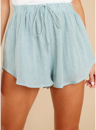 Solid Above Knee Casual Sporty Shorts