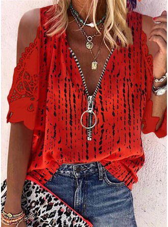 Print Lace Cold Shoulder 1/2 Sleeves Casual Blouses