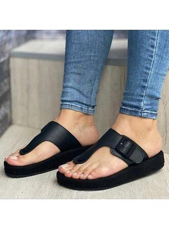 Femmes PU Talon plat Sandales Plateforme À bout ouvert Chaussons avec Boucle Couleur unie chaussures