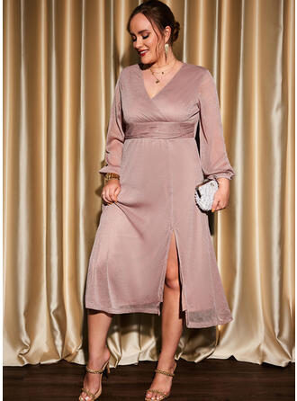 Solid Long Sleeves A-line Skater Party/Plus Size Midi Dresses