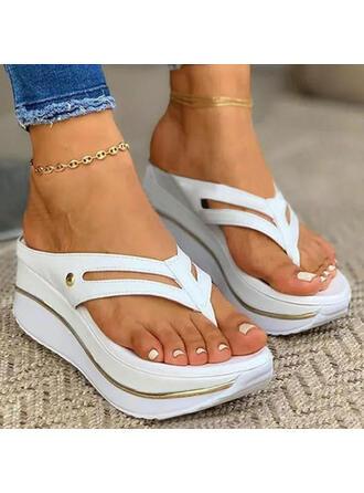 Femmes PU Talon compensé Sandales À bout ouvert Tongs Chaussons avec Ouvertes Couleur unie chaussures