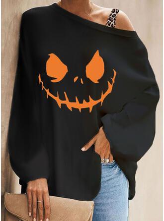 Halloween Estampado Leopardo Um Ombro Manga Comprida manga de morcego Casual Blusas