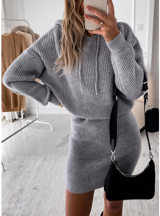 Sólido Capucha Casual Vestido de Suéter