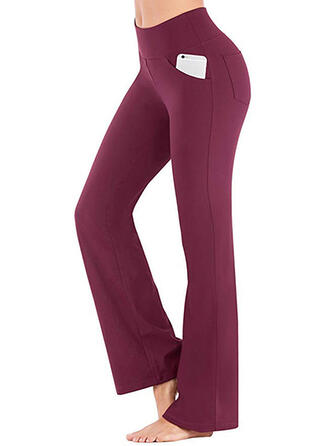Shirred Long Casual Elegant Sexy Skinny Solid Leggings