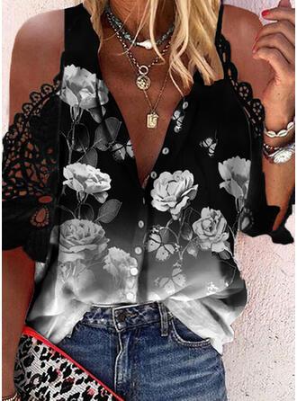 Print Floral Lace Cold Shoulder 1/2 Sleeves Cold Shoulder Sleeve Casual Blouses