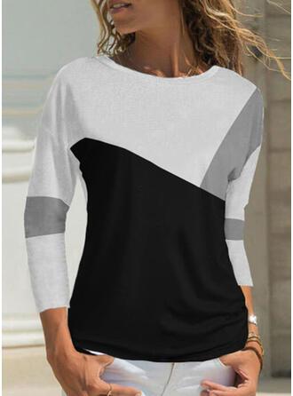 Bloc de Couleur Col Rond Manches 3/4 T-shirts