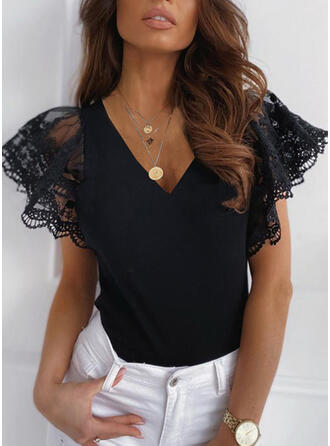 Solid Lace V-Neck Sweaters