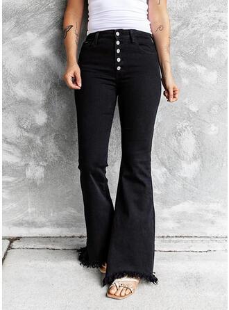 Couleur Unie Coton Treillis Longue Décontractée Ancien Tassel Boutons Jeans