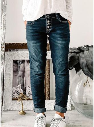 Couleur Unie Coton Treillis Longue Ancien Poche Boutons Jeans