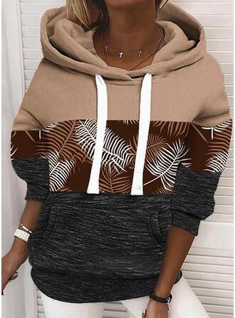 Print Color Block Long Sleeves Hoodie