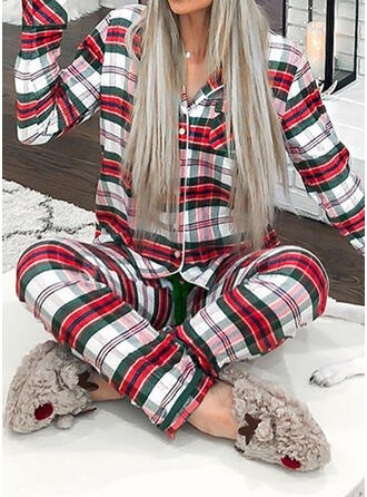 Polyester Manches Longues Noël Grille Ensemble pyjama