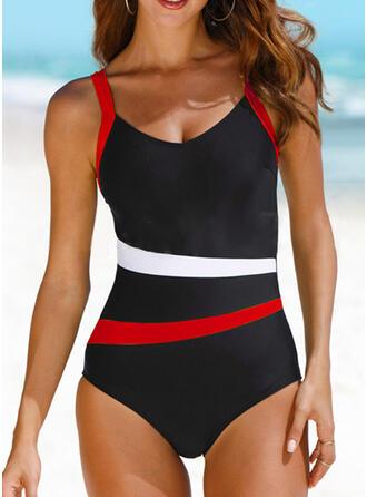 Stripe Color Block Strap U-Neck Elegant Sports One-piece Swimsuits