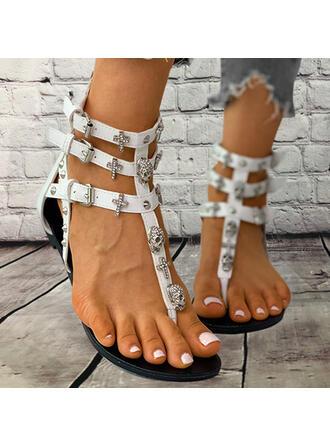 Femmes PU Talon plat Sandales Tongs avec Strass Rivet Zip chaussures