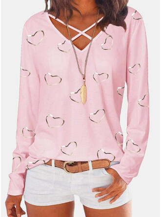 Print Heart V-Neck Long Sleeves Casual Blouses
