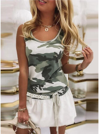 Lace/Print/Sequins/Camouflage Sleeveless A-line Above Knee Casual Skater Dresses