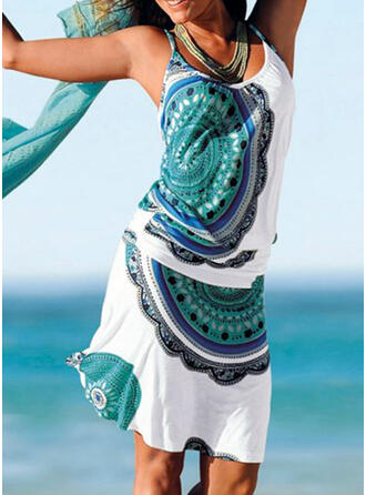 Print Sleeveless Sheath Knee Length Casual/Boho/Vacation Slip Dresses