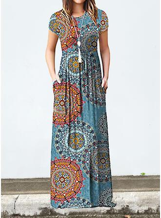 Print Short Sleeves A-line Skater Casual/Boho Maxi Dresses
