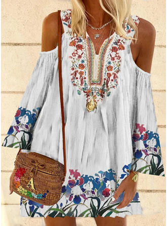 Print/Floral Long Sleeves/Flare Sleeves Shift Above Knee Casual/Boho/Vacation Tunic Dresses