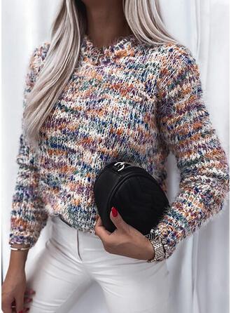 Print Crew Neck Casual Sweaters