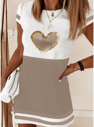 Color Block/Striped/Heart Short Sleeves Shift Above Knee Casual T-shirt Dresses