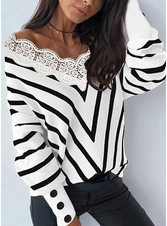Striped Lace V-Neck Casual Sweaters