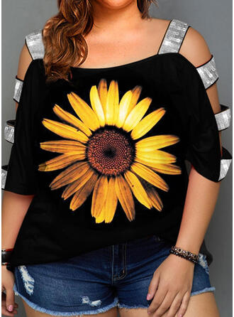 Sunflower Print Sequins Cold Shoulder 3/4 Sleeves Casual Plus Size Blouses