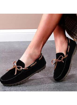 Femmes Similicuir Talon plat Chaussures plates Low Top Glisser sur avec Bowknot Couleur unie chaussures