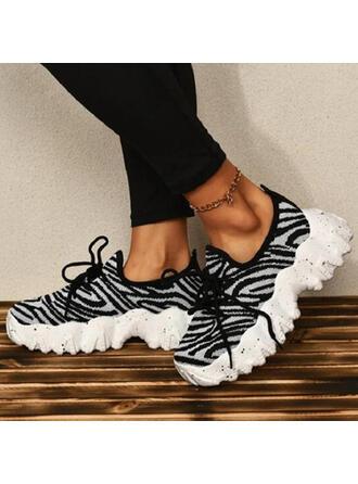Femmes Mesh Talon plat Chaussures plates Low Top Tennis avec La copie Animale Dentelle chaussures