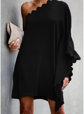 Solid Long Sleeves/Batwing Sleeves Shift Above Knee Little Black/Party Tunic Dresses