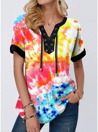 Tie Dye Cuello en V Manga Corta Camisetas