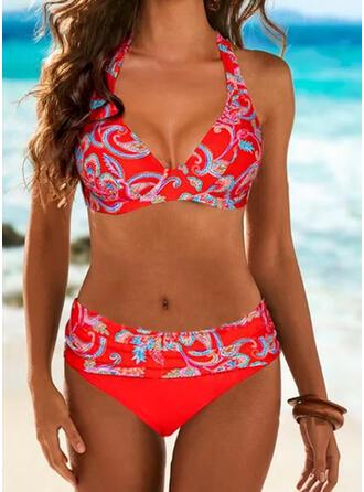 Impresión Halter Cuello en V Tallas Grande Casual Bikinis Trajes de baño