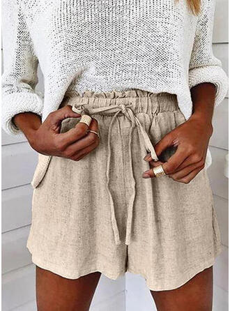 Solid Above Knee Casual Plus Size Pocket Drawstring Pants Shorts