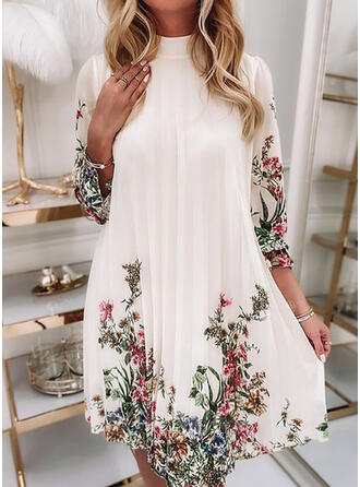 Print/Floral Chiffon Long Sleeves Puff Sleeve Shift Above Knee Casual Tunic Dresses