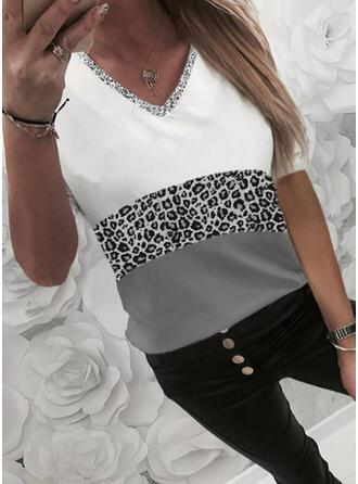 Color Block Leopard Sequins V-Neck 1/2 Sleeves T-shirts