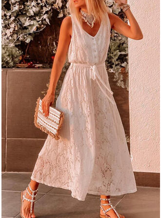 Solid Lace V-Neck Sleeveless Casual Jumpsuit