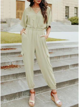 Solid V-Neck 1/2 Sleeves Casual Jumpsuit