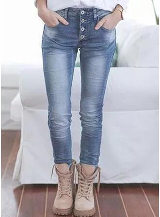Couleur Unie Treillis Longue Décontractée Grande taille Poche Boutons Jeans