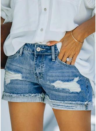 Sólido Algodão Acima do joelho Elegante Tamanho positivo Bolso shirred rasgado Button Calças Calção Jeans
