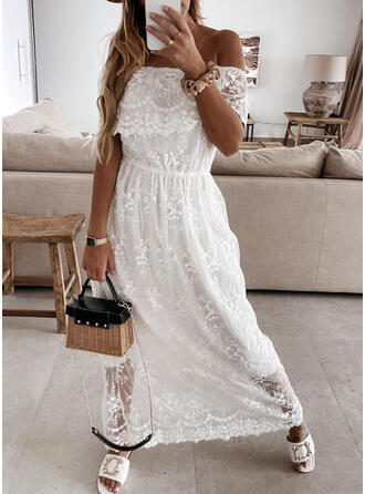 Lace/Solid Short Sleeves A-line Skater Casual/Vacation Maxi Dresses