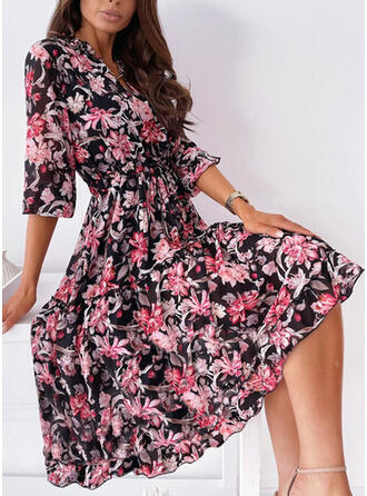 Print/Floral 3/4 Sleeves A-line Skater Casual Midi Dresses